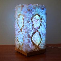 Kristallilamp lihvimata kristallide ja värvilise LED valgustusega