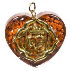 Kuldse esimese tšakra sümboliga südamekujuline orgon-ripats