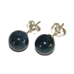 Dumortierite Earpin, 8 mm round, 925 Silver