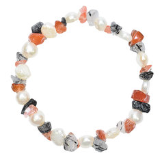 Tourmalinated Quartz and Carnelian Chip and Pearl Bracelet