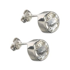 White Topaz Earrings, 925 Silver