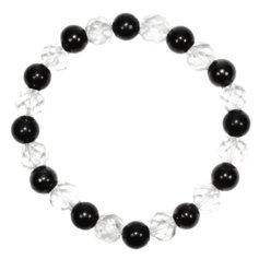 Shungite and Facetted Rock Crystal Bracelet