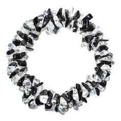 Musta turmaliini ja mäekristalliga kolmekordne spiraalne käepael