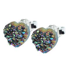 Vikerkaareaurast südamekujulised kõrvarõngad 6 mm, 925 hõbe