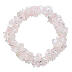 Rose Quartz and Rock Crystal Chip Bracelet 3 in 1