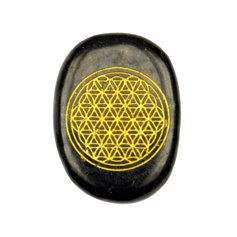Disc Freeform Shungite with gold coloured  Flower of Life engraving