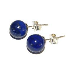 Lapis lazulist kerakujulised kõrvarõngad, 8 mm, hõbe