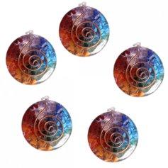 Erivärviliste kristallidega ümmargune orgon-ripats (1 tk)