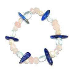 Lapis lazuli, roosa kvarts, sinise obsidiaani ja pärlitega käepael